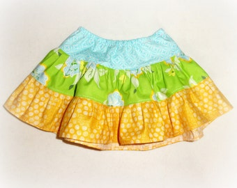 Girls Twirl Skirt Beach Skirt Summer Ruffle skirt in Blue Green and Yellow