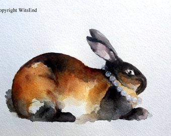 Bunny Rabbit watercolor painting Pearls and Sable  original nursery art