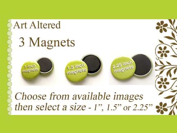 "Your Choice 3 MAGNETS choose from available images in 1"", 1.5"" or 2.25"" size party favors stocking stuffers shower office gifts flair fridge"