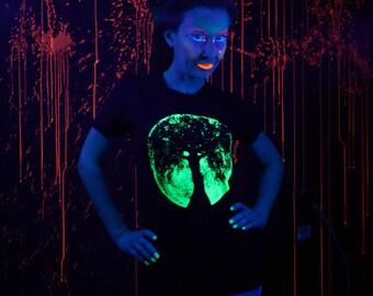 Full Moon Oak Tree Goddess Glow in the Dark Ladies Tees Size S M L & XL