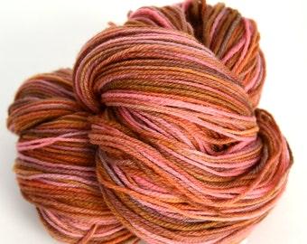 Peach Rust Pink Merino Nylon Hand Dyed Sock Yarn