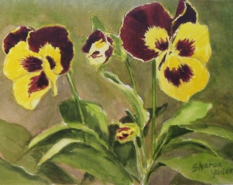 Original Watercolor Painting - Purple and Yellow Pansies