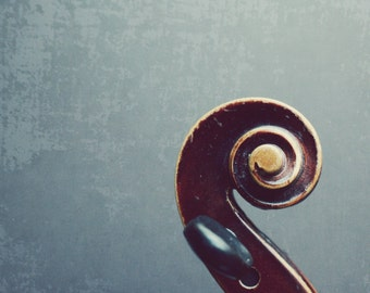 "Violin scroll abstract minimal photography fiddle spiral gray brown wood musical instrument art print ""Fiddle Head"""