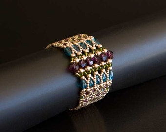 Gold Beaded Bracelet with Swarovski Crystals in Amethyst Purple, Olive Green and Indicolite Blue. Antique Gold Art Deco Style Bracelet. S181