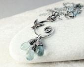 March Birthstone  Necklace      Moss Aquamarine  Jewelry  Gemstone   Pendant