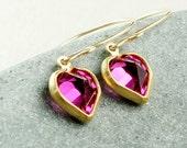 Pink Heart Earrings Swarovski  Jewelry Fuchsia  Cute Fuchsia Crystal Jewellery Vintage Glam Dainty Earrings  Gold  Swarovski Crystal Jewelry