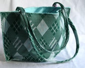 Tote Bag Vintage Preppy Plaid Green Aqua Limited Edition