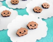 Happy Cloud Earrings - Wood Bamboo Studs
