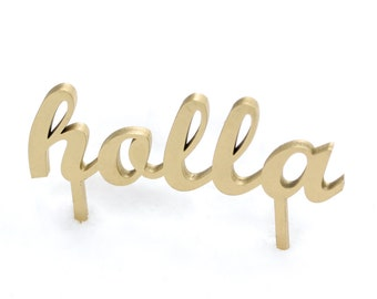 holla wedding or party cake topper in white, gold, black and maple