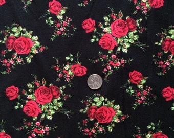 NEW Red roses on black  cotton Lycra  knit fabric 1 yard