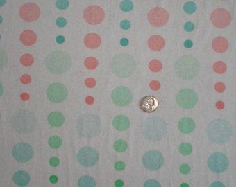 New falling pastel polka dots on cotton jersey knit fabric 1 yard