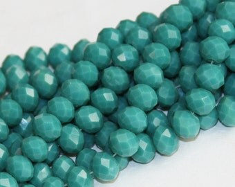 16 inch Strand of glass faceted rondelle beads 8x10 mm Turquoise blue