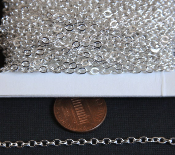100 ft Spool of Silver Plated Tiny Flat Soldered Cable Chain 2mm