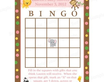 24 Personalized Baby Shower Bingo Cards  -  Zoo Animals - Pinks