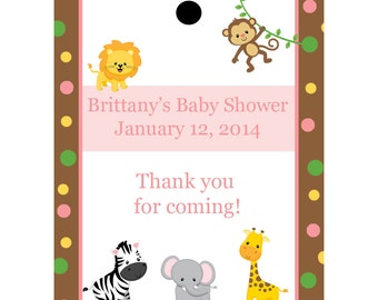 24 Personalized Baby Shower Favor Tags  - Zoo Animals  -  Pink