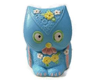 Vintage Owl Planter Blue Japan