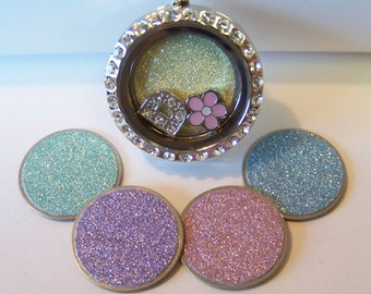 Pastel Glitter Locket Plates, will fit any brand of floating charm locket necklaces, available in medium and large, CHOOSE ONE