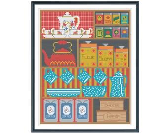 Vintage Kitchen Cupboard Cross Stitch Pattern Instant Download