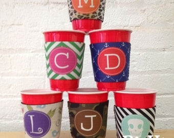 Red Solo Cup Drink Cozie - Coolie - Huggie - Personalize your Own Party Cup Sleeve with Monograms & Patterns
