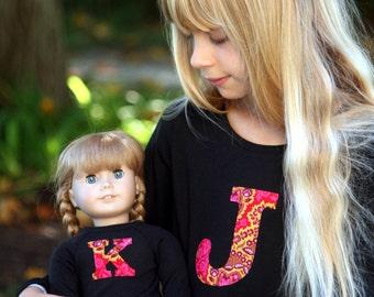 CUSTOM Monogrammed Matching Girl and AG Doll Appliqued T-shirts