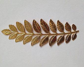 "14k yellow gold plated large fern leaf charm. 3 1/2"" long, great detail. Perfect for jewelry making, crafts"
