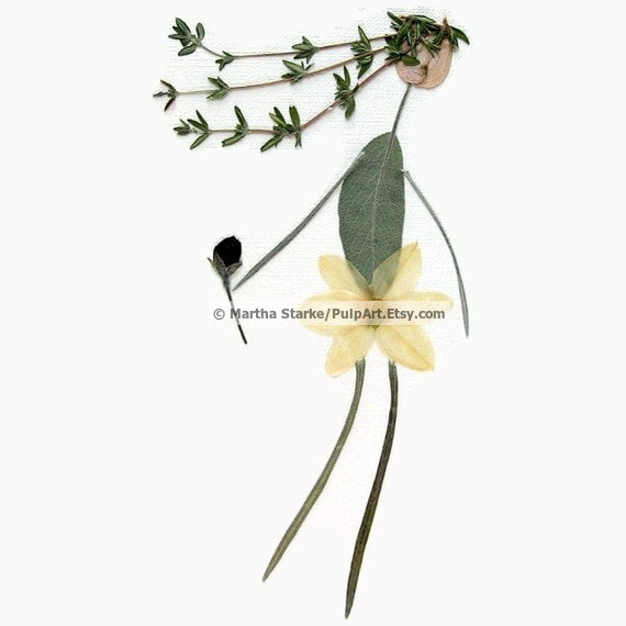 Pressed flower art - Dancing girl - oshibana greeting card - digital print of original art made of pressed flowers and herbs - Spring garden