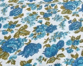 """Vintage 50s 1 yd 32""""  x 35 1/2"""" Cotton Aqua Peacock Blue and Avocado Green Roses Floral on Crisp White Dress Quilt Tablecloth Apron Fabric"""