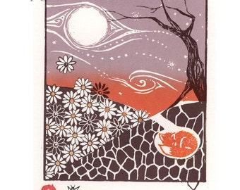 Original art screenprint underground daisy fox