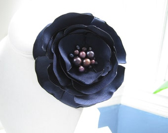 SINGLE BLOOM  navy fabric flower brooch with freshwater pearl centers - Ready To Ship