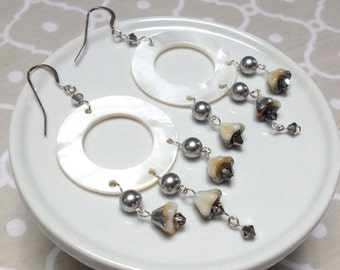 Round White Shell, Crystal and Gray Pearl Beaded Earrings