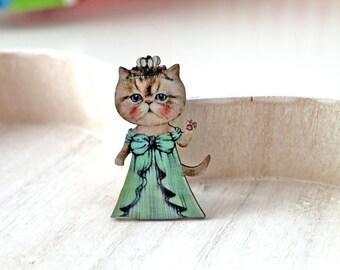 Cat Princess wooden brooch kawaii sweet lolita egl