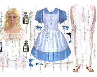 PAPER DOLL ALICE Wonderland 2 Paper dolls White Rabbit Cheshire Cat Digital Doll Ballerina Papercrafts Scrapbooking Cardmaking