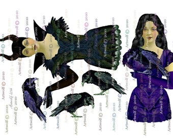 MALEFICENT Styled PAPER DoLLs  Fairy 4 sheets instant Digital Download  Ballerina Papercrafts Scrapbooking Cardmaking
