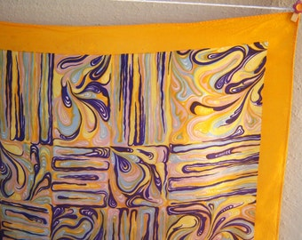 "Psychedelic 60s scarf / swirled purple orange gold / hand rolled edges 25"" square"