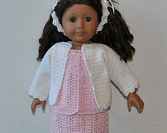 "Instant Download - PDF Crochet Pattern - 18"" AG Doll Clothes 40 -Cardigan, Top, Skirt and Hairband"