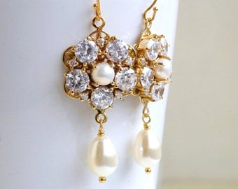 Bridal Earrings Ivory Swarovski Pearl CZ Gold Chandelier GE3G