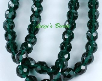 25 Green Emerald Czech Firepolish Faceted Round Glass Beads 8mm