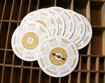letterpress beer coasters spinner
