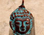 Buddha Pendant, Green Patina, Greek Casting M244