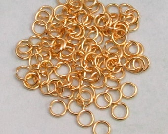6mm Jump Ring, Gold Plate, 18 Gauge, 100 Pc. AG256