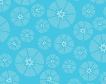 1/2 yard - Sew Yummy Topper Cyan Blue fabric, Organic Cotton, Cloud9 Fabrics