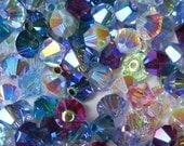 150 pcs Swarovski Crystal 5301/5328 4mm Bicone Beads AB2x Color Mix Wholesale Destash