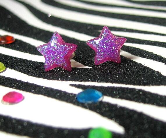 Purple Star Earrings, Plum Purple Studs, Minimalist, Kitsch Kawaii