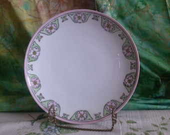 Signed Bavaria Side Plate with Pink Dodwood around the Edges