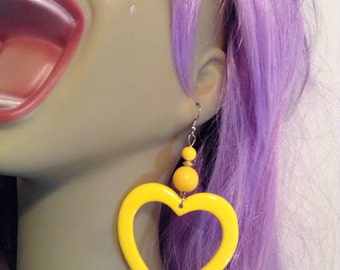 HEART  drop yellow sunshine bead bright 90s  open love lovers dangle funky oversized earring large big diva glam basketball wives enlarged s