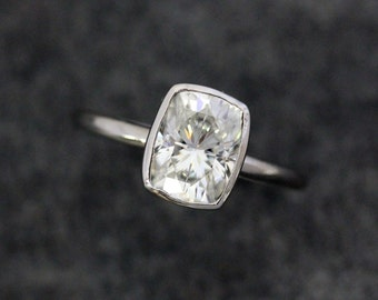 Moissanite Ring, White Gold Ring, Cushion Cut, Solitaire, Gold Ring, Engagement Ring, Conflict Free Alternative, Handmade
