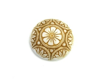 Glass Cabochons Ornate Floral 18mm Beige on White (2) GC045