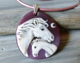 Horses, mom and baby -Fused glass pendant