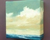 "PACIFIC DREAM, oil painting landscape painting original painting, 100% charity donation, oil paint on 4""x4""x1.5"" stretched canvas"