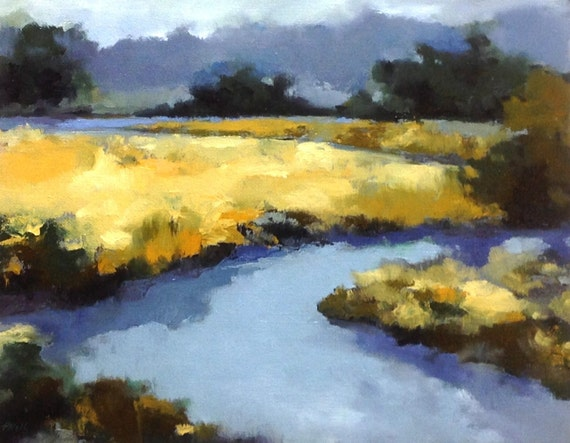 MEANDERING, oil landscape painting original 100% charity donation, 11x14 canvas  panel, field, low country